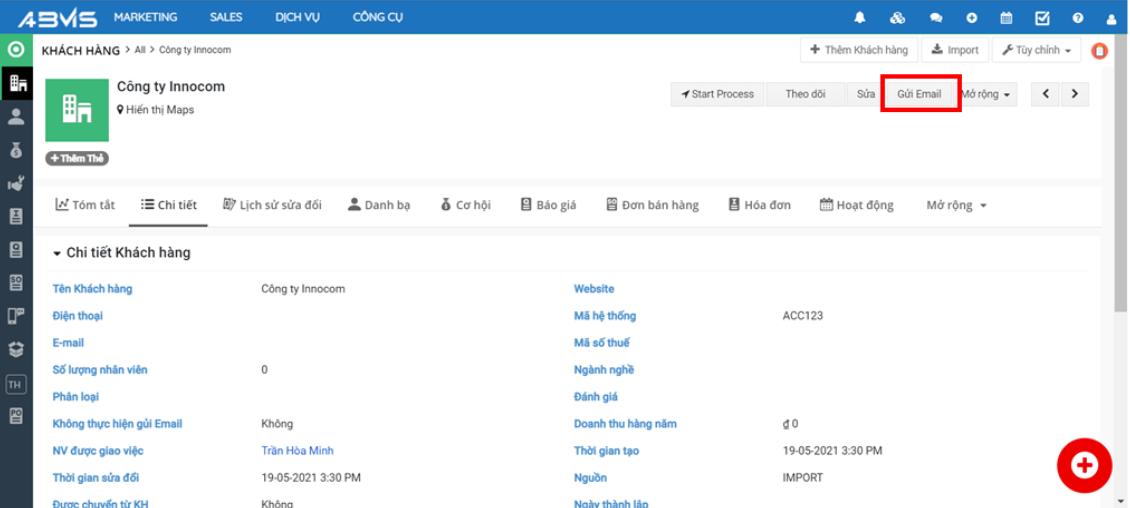 Gửi Email trực tiếp từ Module KHÁCH HÀNG trên ABMS